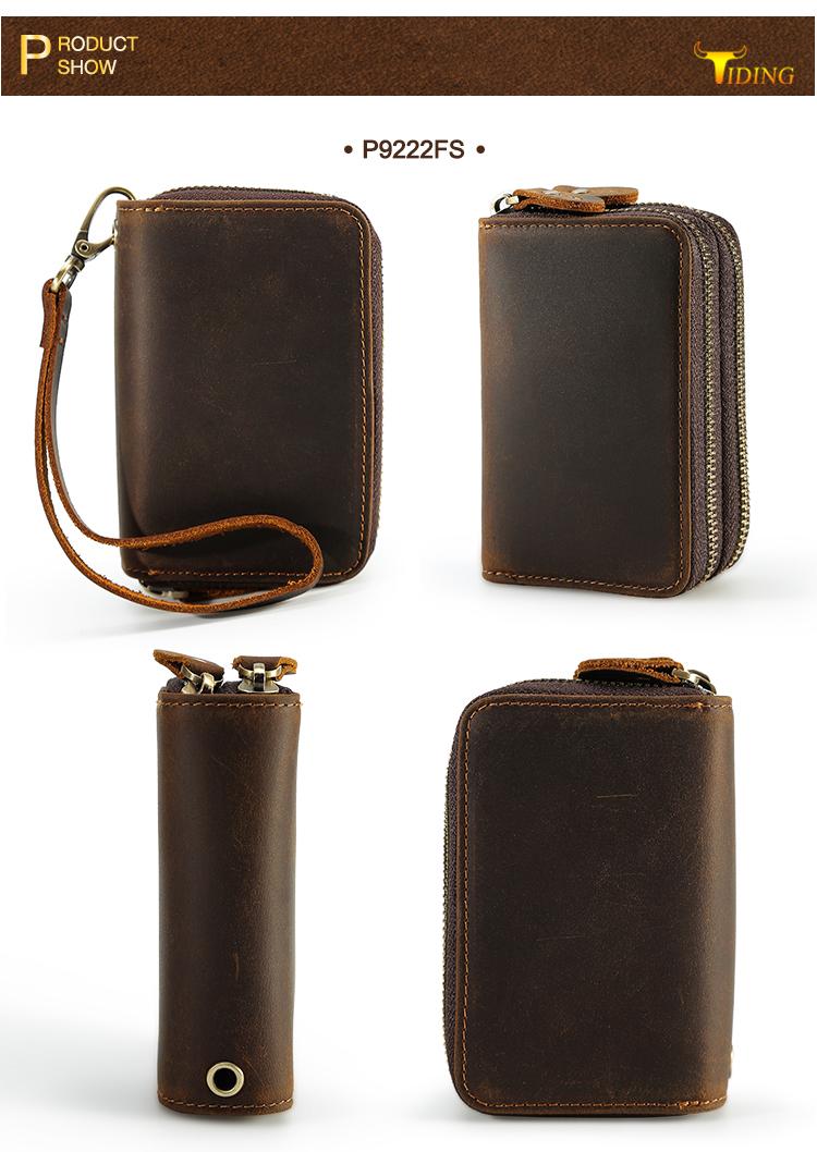 882d795387b0 Details about Vintage Men Real Leather Wallet Zipper Purse Money Clip Cards  Keys Clutch Bag